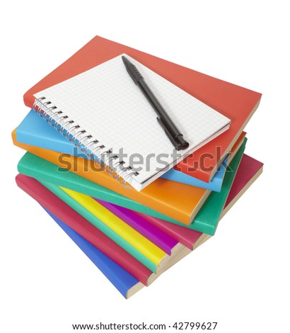 close up of stack of colorful books and notebook on white background, with clipping path included - stock photo