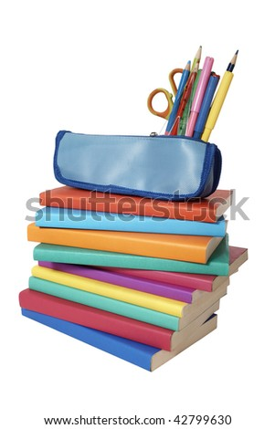 close up of stack of colorful books and pencil case on white background, with clipping path included - stock photo
