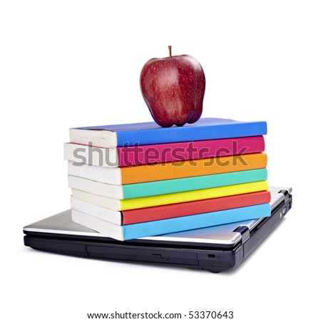 close up of stack of colorful books, apple and laptop on white background, with clipping path included - stock photo