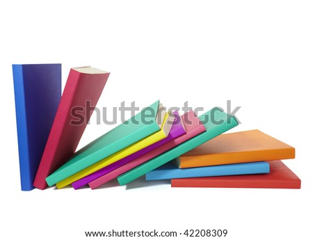 close up of stack of colorful books on white background, with clipping path included - stock photo