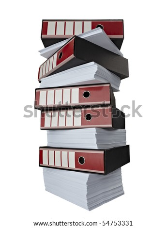 close up of stack of papers and files on white background with clipping path - stock photo