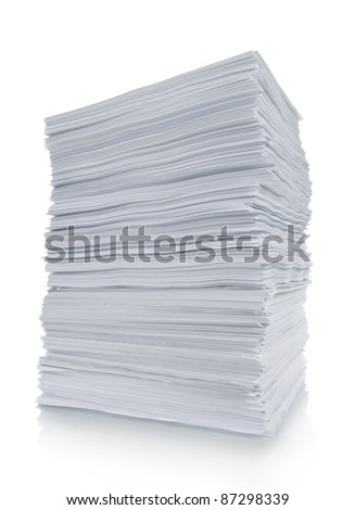 close up of stack paper in white background - stock photo