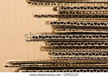 Close up of stacked brown recycled carton - stock photo