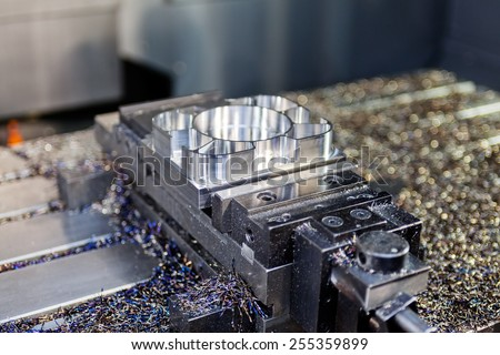 close up of stainless steel and aluminum machine - stock photo