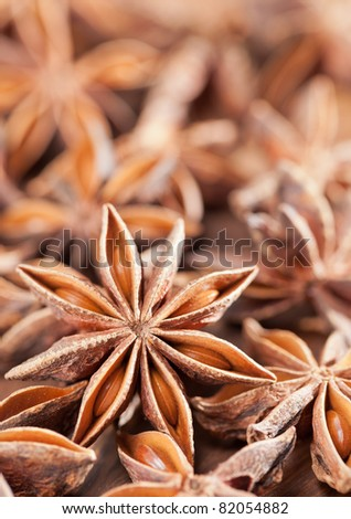 Close up of star anise with selective focus