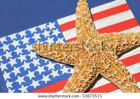 Close up of starfish with flag background - stock photo