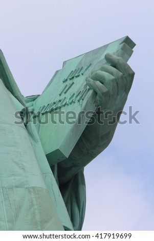 Close-up of Statue of Liberty in New York City - stock photo