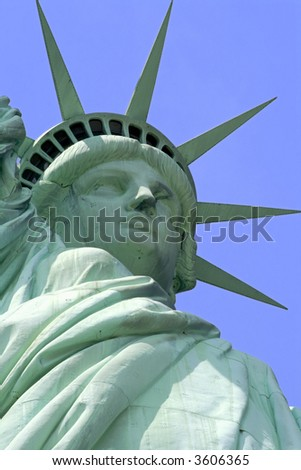 Close up of Statue of Liberty on Liberty Island in New York City.