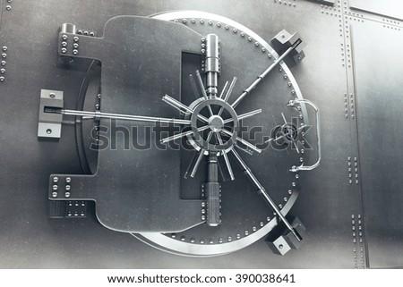 Close up of steel bank vault door, 3D Render - stock photo