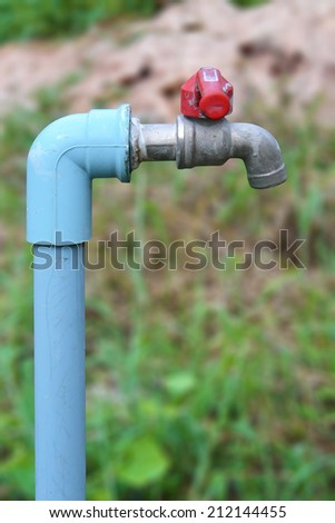 close up of steel faucet - stock photo