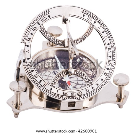 Close up of steel old fashioned compass isolated with clipping path on white background - stock photo