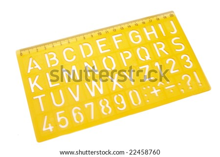 close up of stencil on white background with clipping path - stock photo