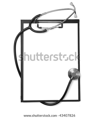 close up of stethoscope  and clipboard on white background with clipping path - stock photo