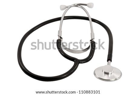 Close-up of stethoscope isolated on white background - stock photo