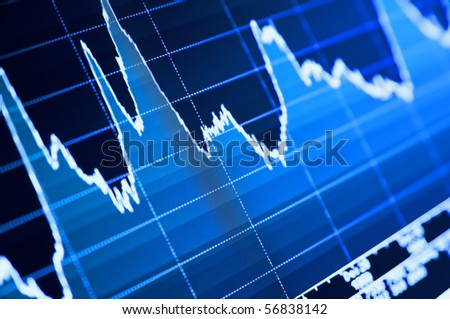 Close-up of stock chart on LCD screen. - stock photo