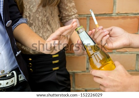 Close-up of stop smoking and drinking on the street