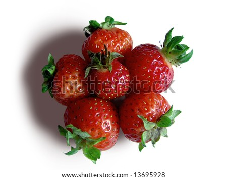 Close up of strawberries isolated on white background - stock photo