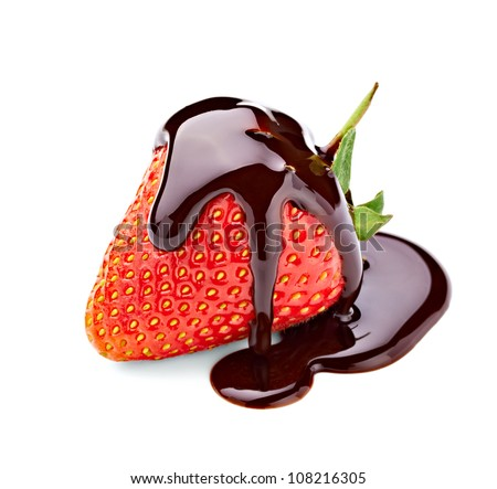 close up of  strawberry and chocolate syrup dessert on white background with clipping path - stock photo