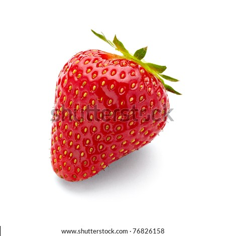 close up of strawberry on white background with clipping path - stock photo