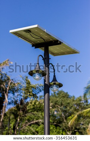 Close up of street post  lamp with solar panel energy.