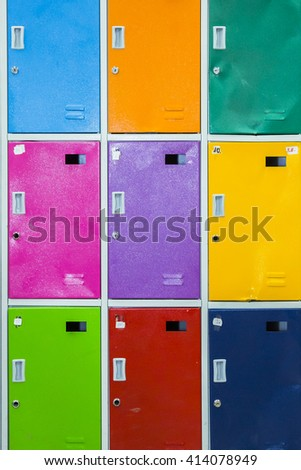 Close Up Of Student Lockers In High School  - stock photo