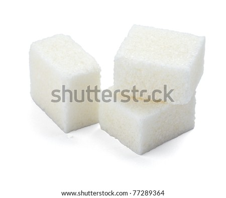 close up of sugar cubes on white background with clipping path - stock photo