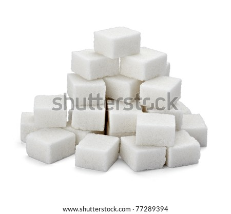 close up of sugar cubes on white background with clipping path