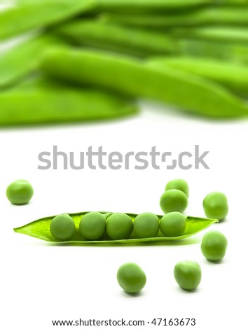 Close up of sugar peas over white background - stock photo