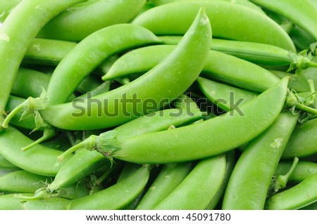 Close up of sugar snap peas - stock photo