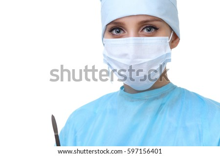 Close up of surgeon woman looking at camera, isolated. Surgery and medicine concept