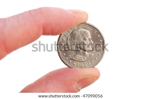 Close-up of Susan B. Anthony Dollar Coin Isolated on White - stock photo