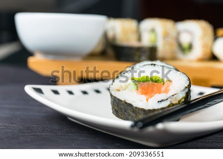 Close up of sushi, Japanese seafood - stock photo