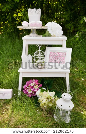 Close-up of Table decoration for wedding or love story