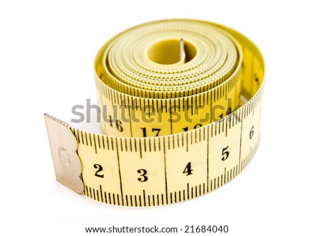 close up of tailors centimeter on white background with clipping path - stock photo