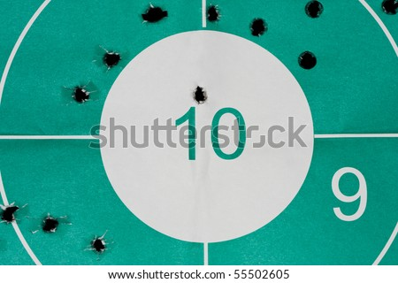 Close up of target with bullet holes