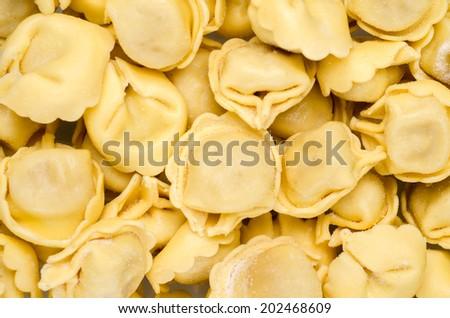 close up of tasty fresh italian pasta, tortellini - stock photo
