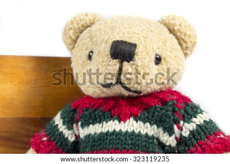 Close-up of teddy bear with wool coat
