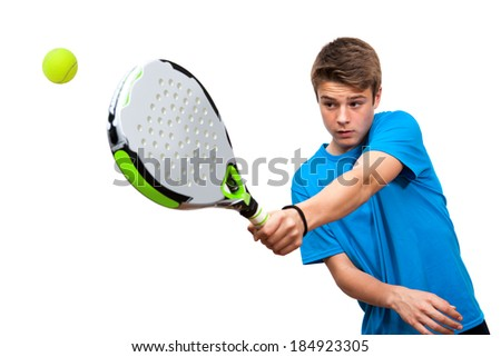 Close up of teen boy paddle player in action isolated against white background.