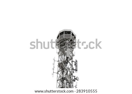 close-up of telecommunications tower on white background - stock photo
