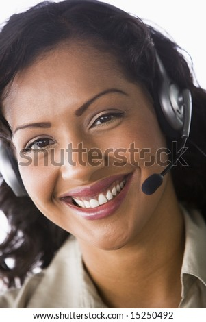 Close-up of telesales worker - stock photo