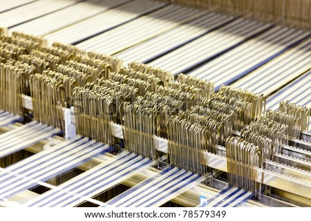 close up of textile machine - stock photo