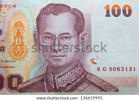 Close up of Thai money
