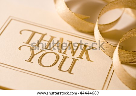 Close up of thank you card. Shot with shallow depth of field. - stock photo