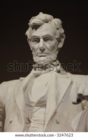 Close-up of the Abraham Lincoln statue in the Lincoln Memorial, Washington DC - stock photo