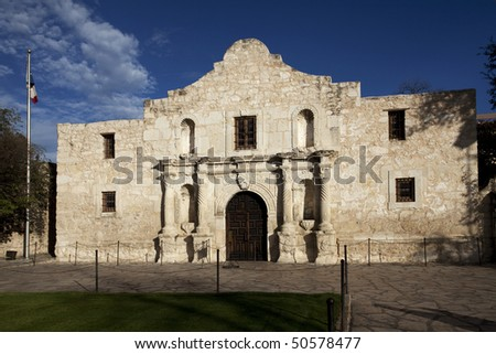 Close up of the Alamo in San Antonio Texas during late afternoon - stock photo