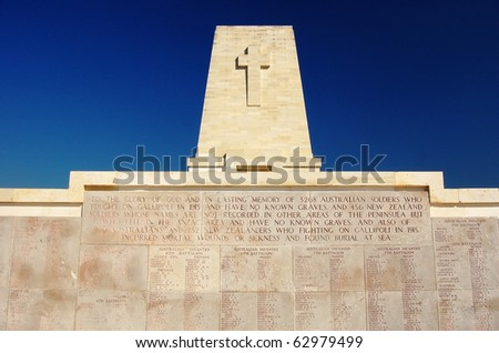 Close up of the Anzac Memorial at Lone Pine, Gallipoli, Turkey. - stock photo