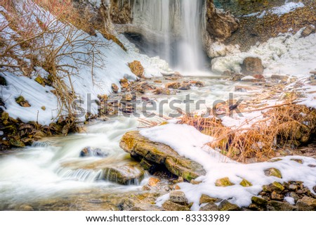 Close-up of the base of Borer's Falls in hamilton ontario in the Winter