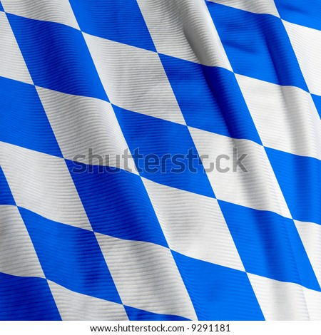 Close up of the Bavarian flag, square image - stock photo