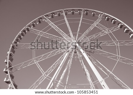 Close up of the Big Wheel in Paris, France