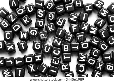 close up of the black letters background - stock photo